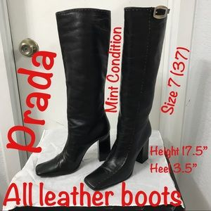 Prada All Leather Pull On boots